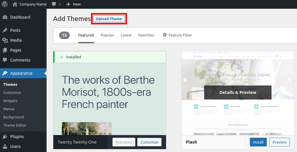 Upload and Install a WordPress Theme