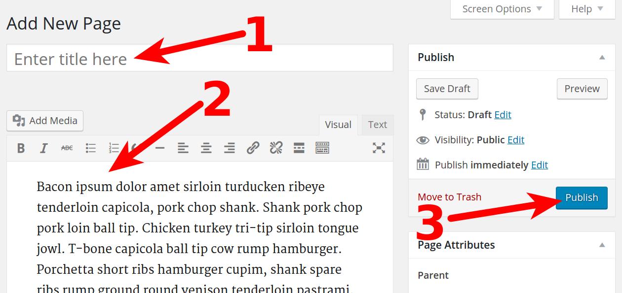 Page setup in WordPress Dashboard