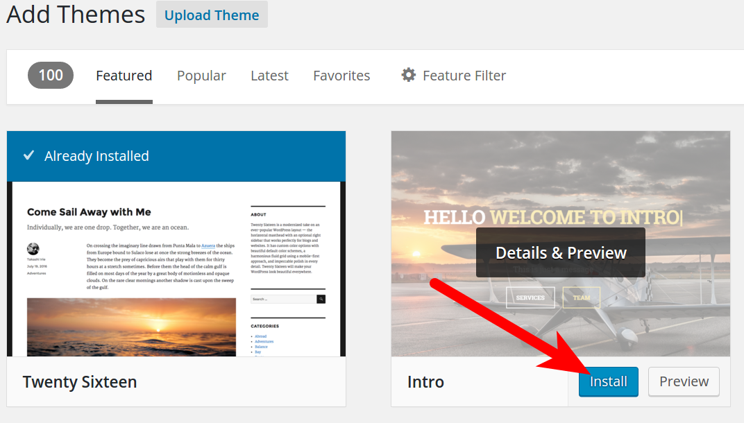 Installing a Theme from the WordPress Dashboard