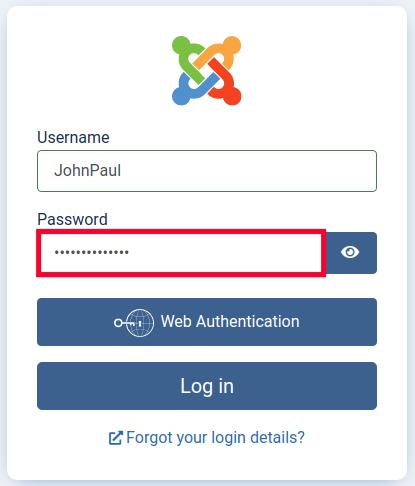 Login to Joomla - Enter Password