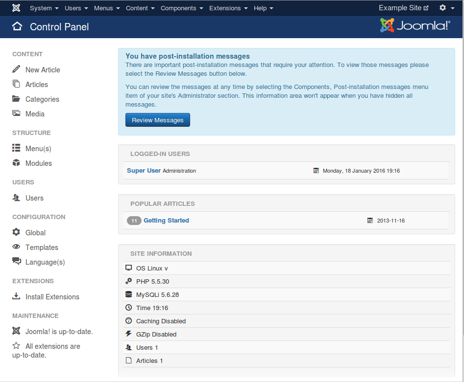 View of the Joomla 3.5 Admin section