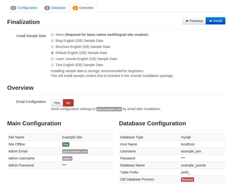 Complete Joomla 3.5 Installation