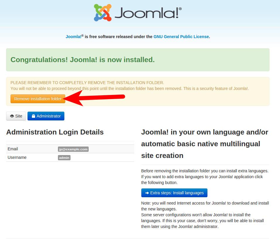 Joomla 3.5 Installation complete