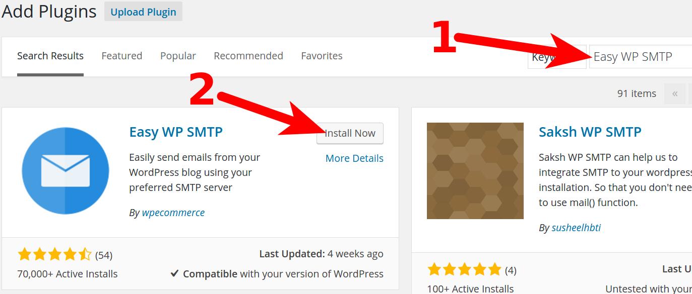 Installing SMTP Plugin