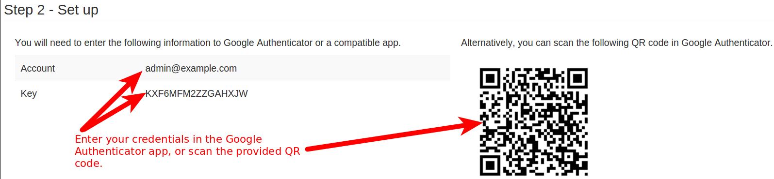 Google Two-Factor Authentication setup