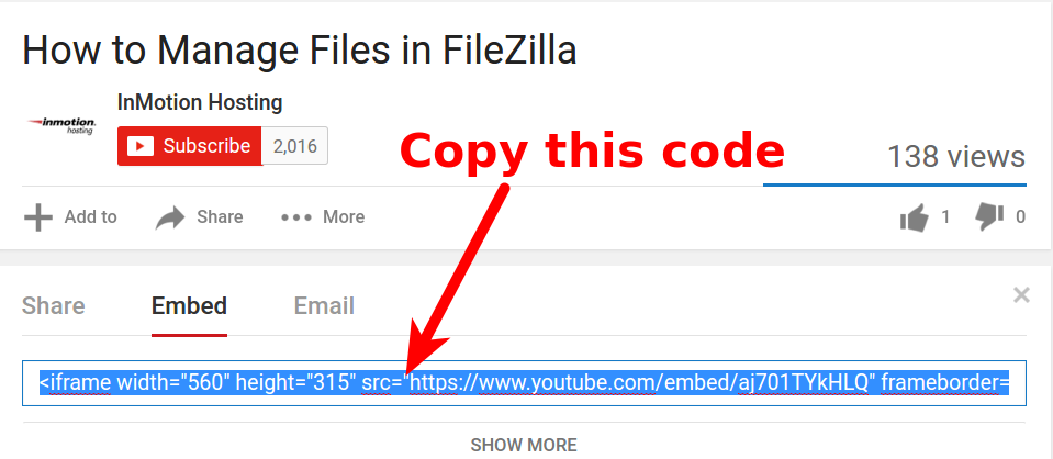 Adding Youtube video to HTML site