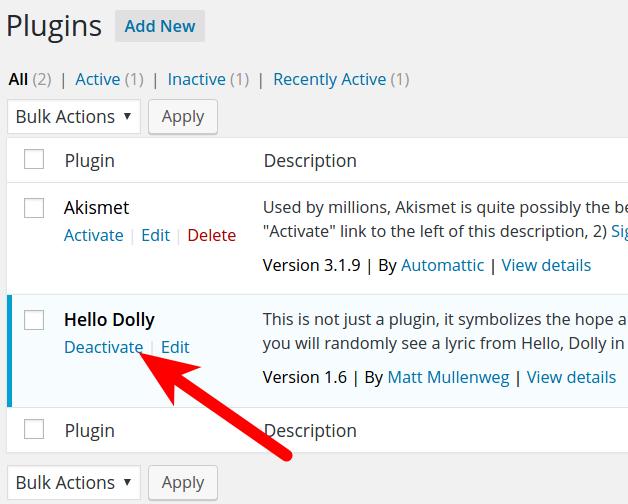 Disabling WordPress Plugins