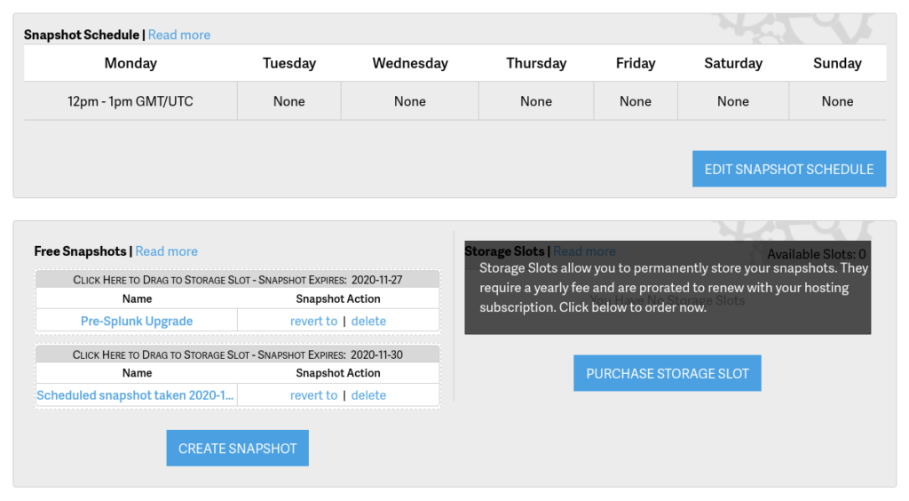 Managed VPS snapshot scheduling