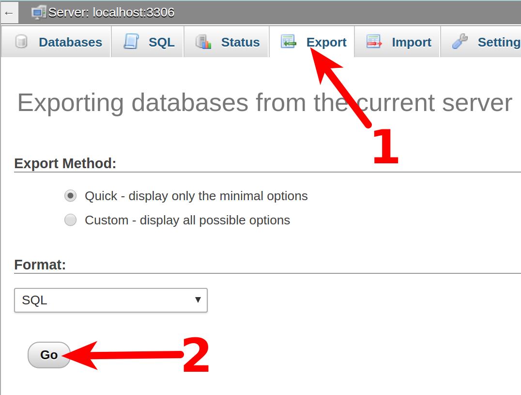 dedicated hosting export database export go