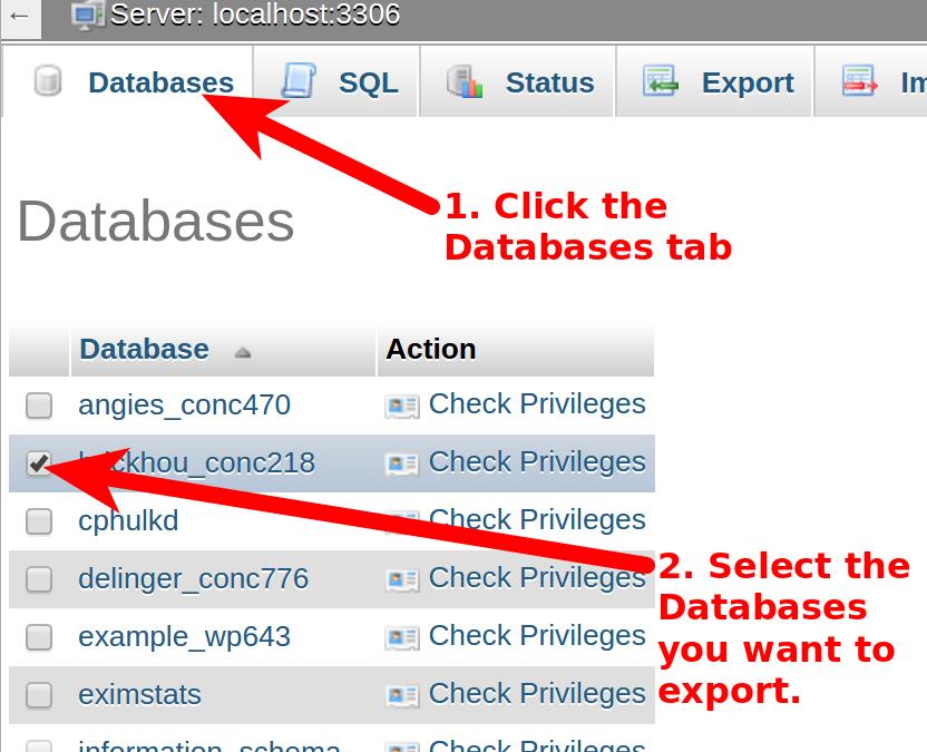 dedicated hosting export database selecting databases