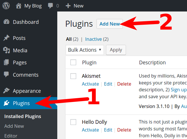 Click Plugins, then click the Add New button.