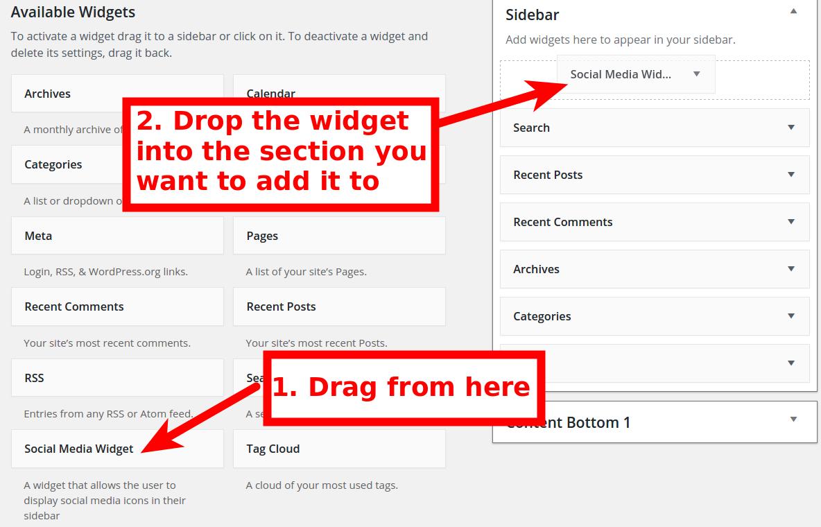 Drag Widget to Sidebar