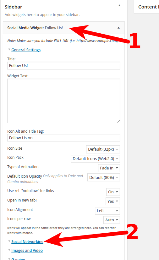 Customize the Widget Settings