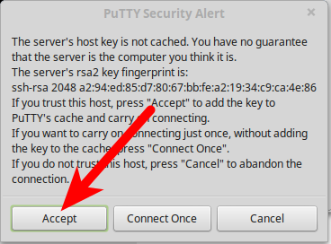 dedicated hosting ssh accept putty security alert