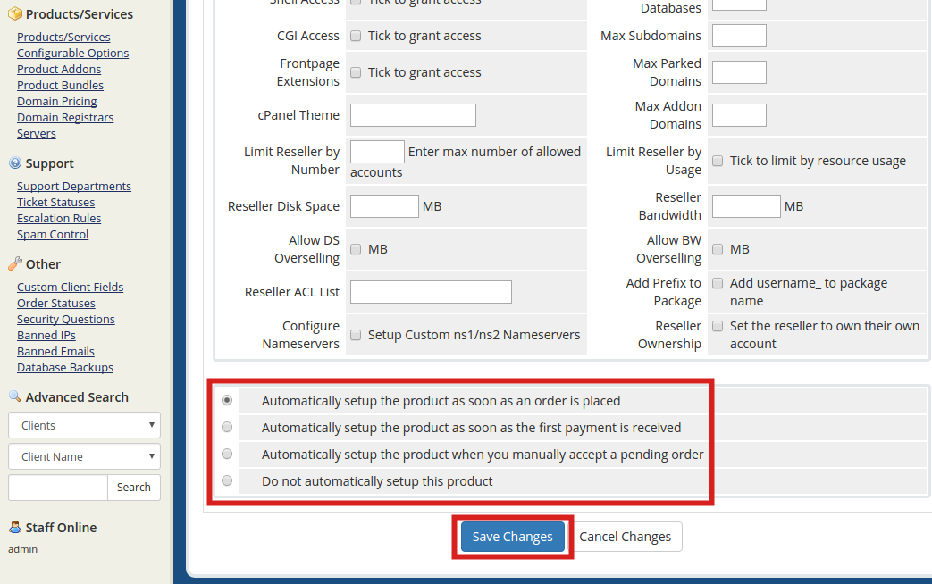 reseller whmcs create product automatic product setup