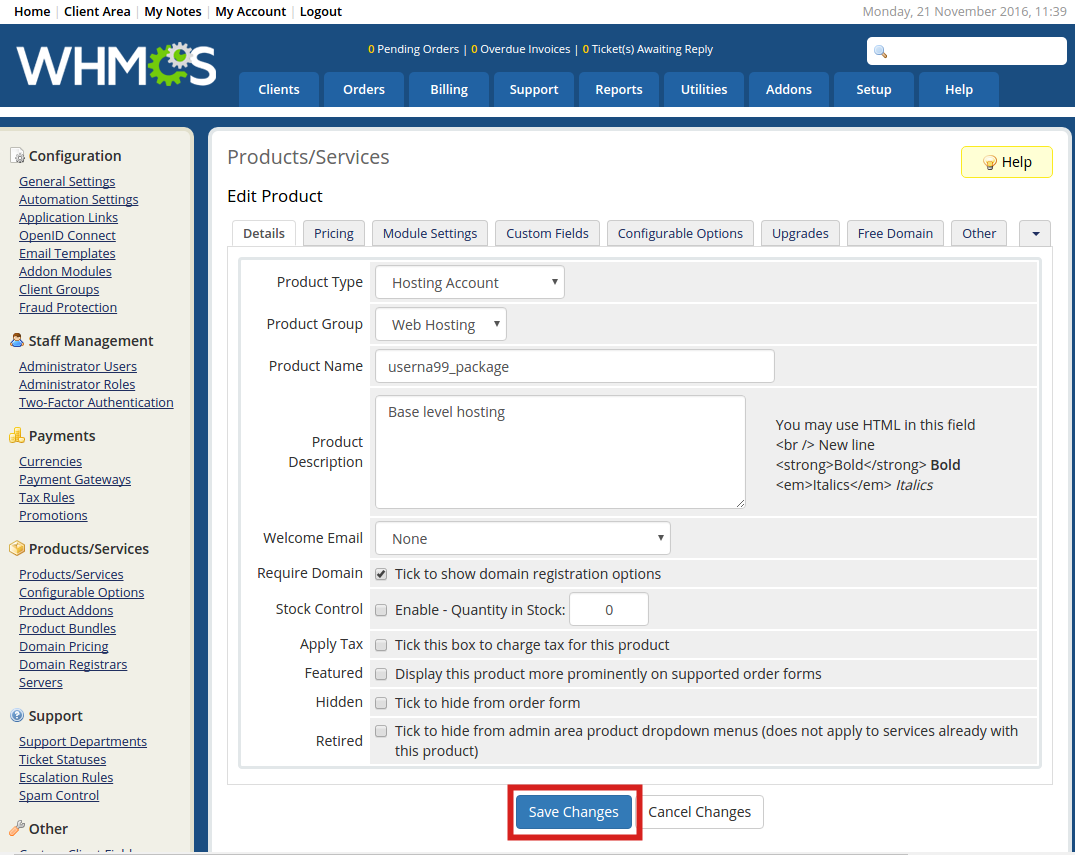 reseller whmcs create product click save
