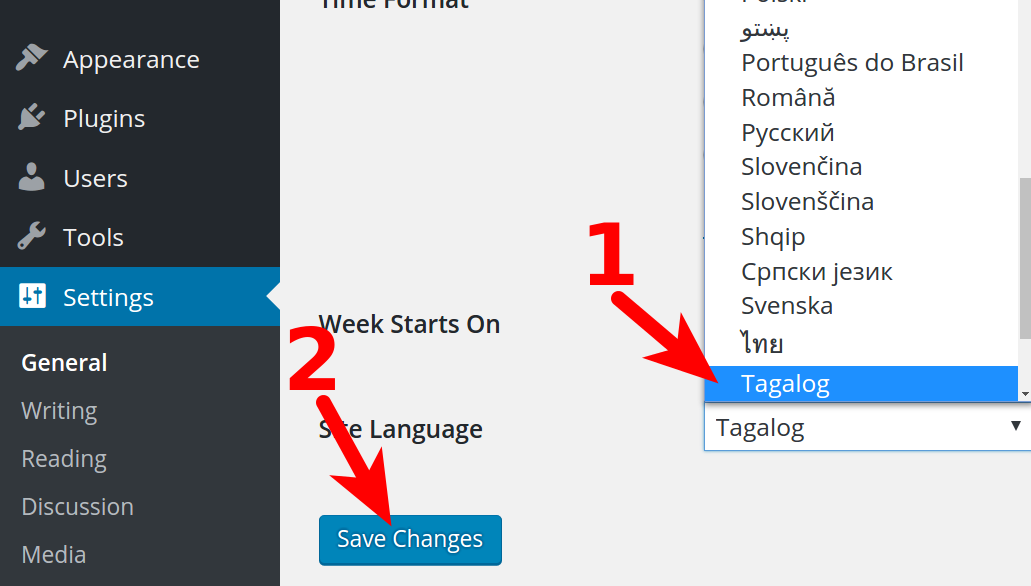 Changing your WordPress Dashboard Language   InMotion