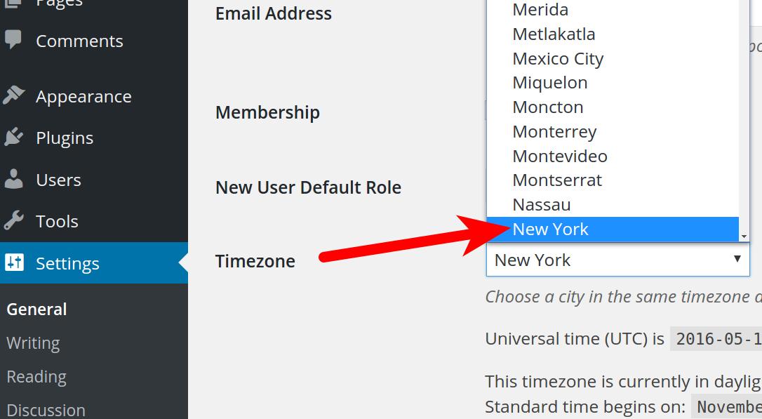 wordpress timezone selecting time zone