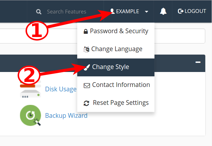 cpanel change style cpanel change style