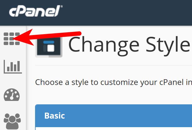 cpanel change style home button paper lantern