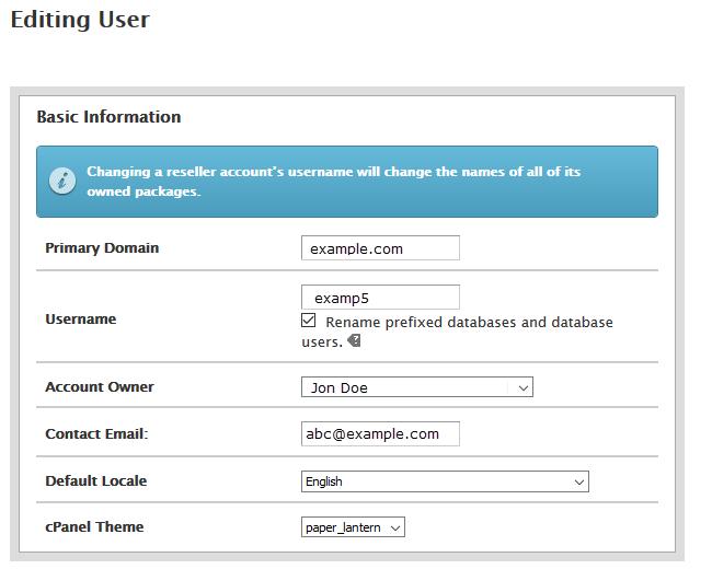 Modify Account basic information