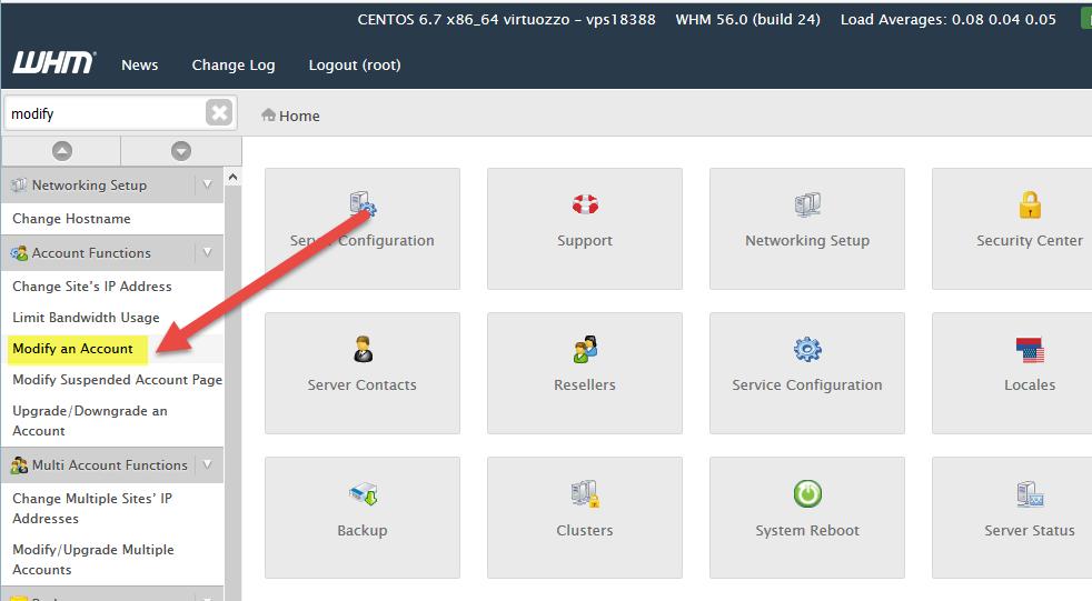 Modify Account menu item