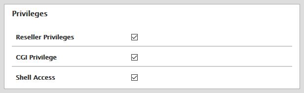 Modify Account privileges