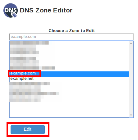 whm dns zone editor dnsZoneEditor selectDomainEdit highlight
