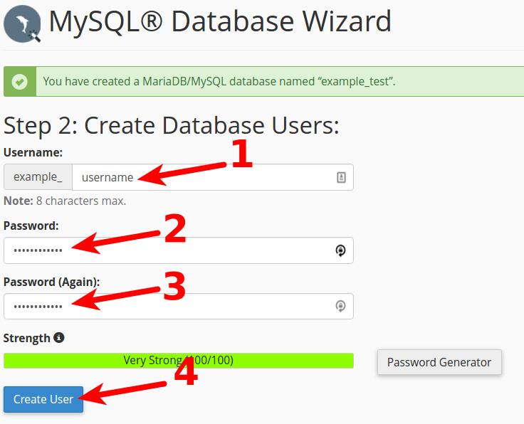 cpanel create database create database user