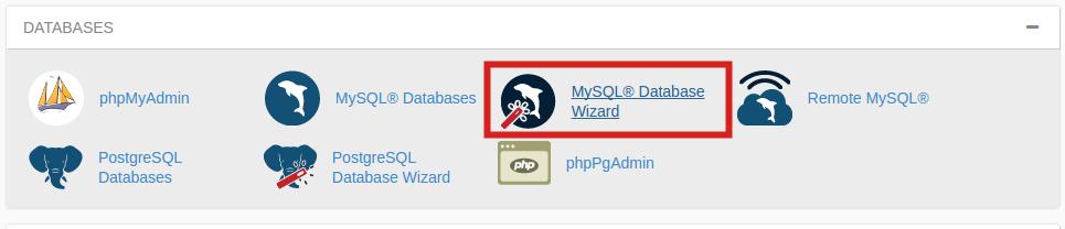 cpanel create database mysql database wizard paper lantern