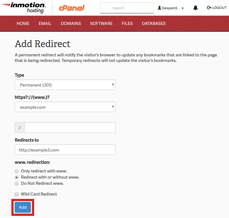 Redirect Save cPanel