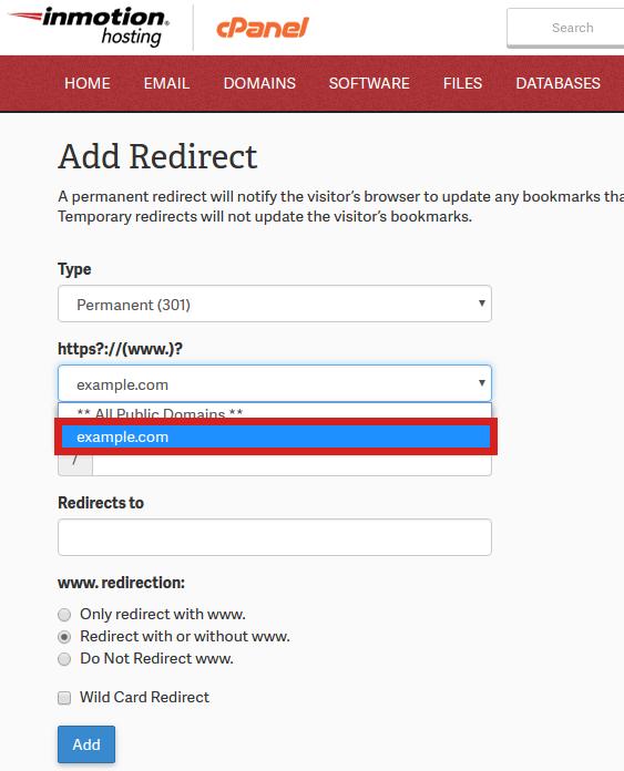 Redirect Protocol cPanel