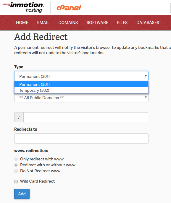 Redirect Type cPanel