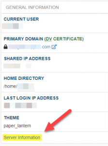 Where in cPanel to find server information