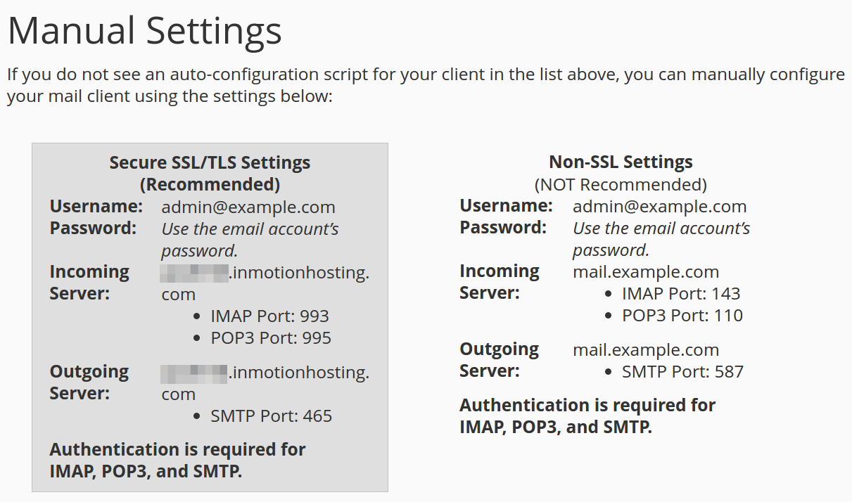 cpanel email settings manual email settings