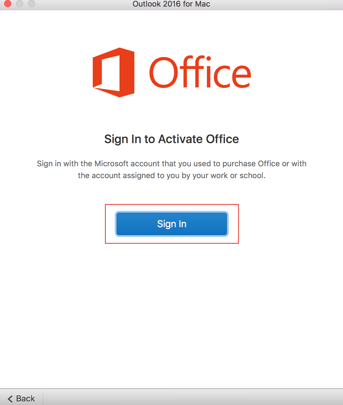 Outlook sign in screen