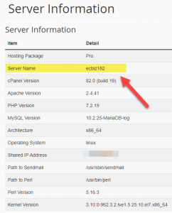 Server Information in cPanel