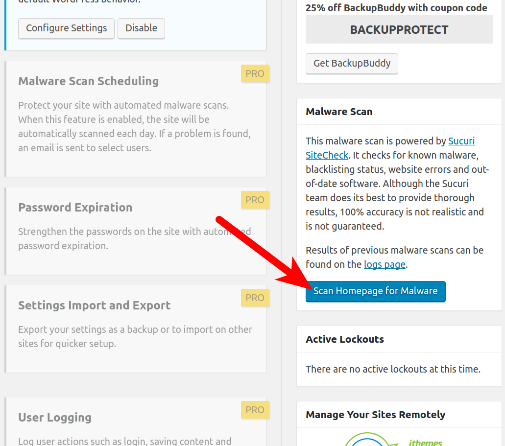 wordpress plugins ithemes security scan homepage for malware