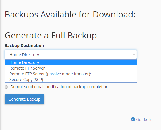 Select the destination of the backup