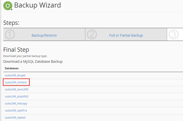 Select the Database you wish to backup
