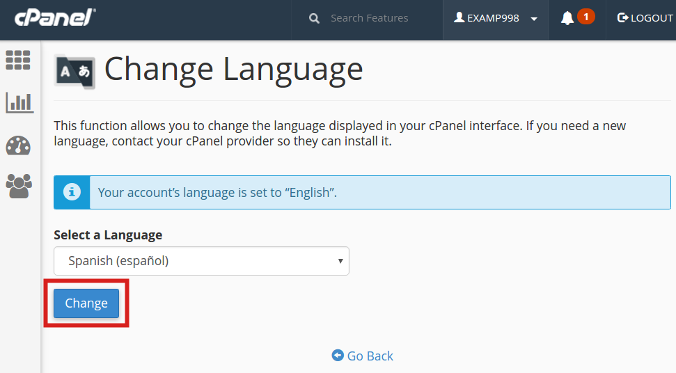 cpanel change language change language