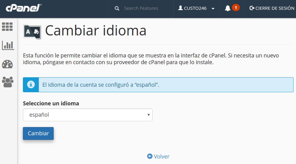 cpanel change language spanish cpanel