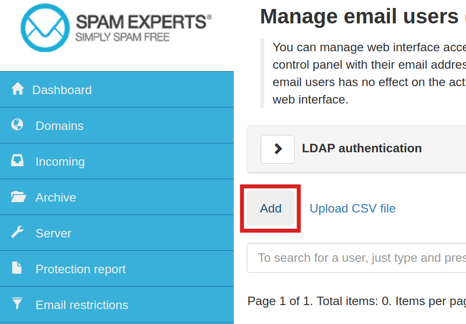 email spam experts manage email users spamexperts add domain