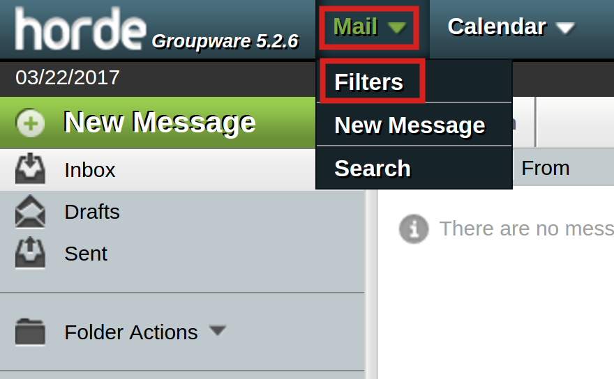 email horde mail filters