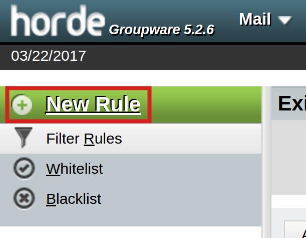 email horde new horde rule