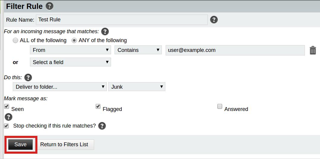 email horde save horde filter