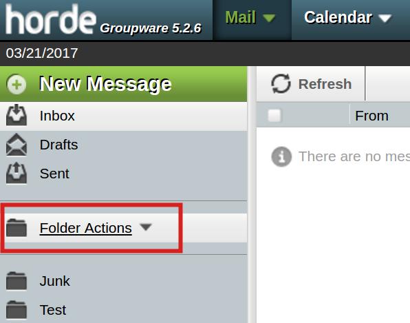email imap folders horde folder actions