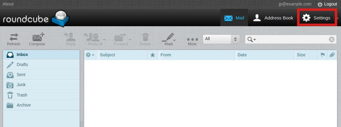 email imap folders roundcube settings