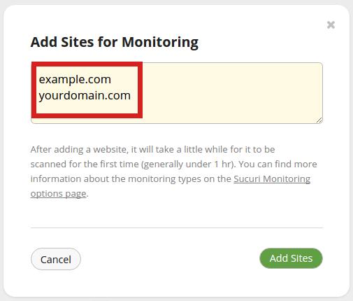 security sucuri add site adding sites to sucuri