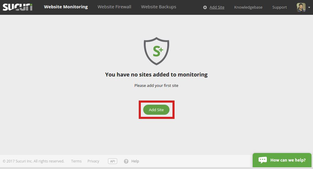 security sucuri add site sucuri add site button